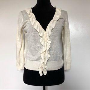 J Crew Sweater Small Linen Cardigan White Button